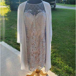 Light Blue Lace Straight Sheath Dress w/ Sheer